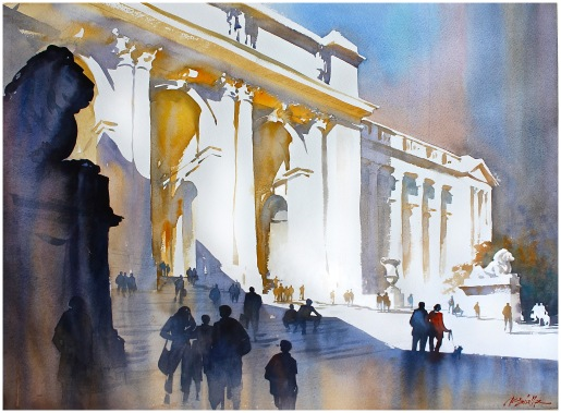 When doing this final studio painting, I was reminded by my earlier site study to not get too hung up on minute architectural detail - to only show what was essential to tell the story of light. Important here too was the strong and simple arrangement of values - the lightest lights being the pure saved white of the paper.