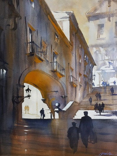 Steps of Girona - Spain Thomas W Schaller - Watercolor Fabriano Artistic Paper, 140 lb. The final studio piece was derived almost in full from my site sketch rather than from reference photos. I followed the lead of the sketch to show only the essential elements in the work - the strong and dynamic range of deep,luminous darks, to the saved white paper of the highest lights. And the sense of warm, reflected sunlight - illuminating even the deep arch and cornice - was suggested by the use of complementary color - primarily in the blue / orange range.