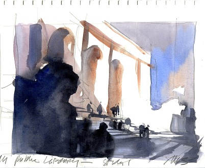 Site Study : New York Public Library - NYC Pencil and Watercolor on Stillman & Birn Beta Series Sketchbook Paper 9x12 inches - 2014 This extremely quick composition/value study was done on site in about 10 minutes. Even if I can't finish a full work on site, plein-air studies are important to record not only what the basic shapes and elements look like, but more importantly, my first reactions and impressions to a subject. So weeks or months later, when I see a quick site study like this in my sketchbook, I am taken right back to that time and place and I can infuse a studio piece with much of that initial emotional immediacy.