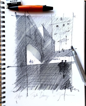 Value / Composition Study - Steps of Girona - Spain Graphite on Stillman & Birn Beta Series Sketchbook Paper 12x9 inches - 2015 Though a site sketch of real things in a real place, what I was drawn to here and tried to emphasize, was the compelling and abstract pattern of bright lights and deeply etched darks. I arranged three basic values - light, dark, and mid-tones in a vertical pattern to emphasize the narrative of the work - the upward climb from the cool shadows below into the hot sun of this Spanish city above.