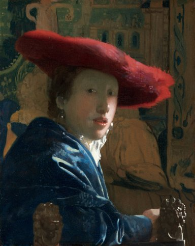 Johannes Vermeer (Dutch, 1632 - 1675 ), Girl with the Red Hat, c. 1665/1666, oil on panel, Andrew W. Mellon Collection