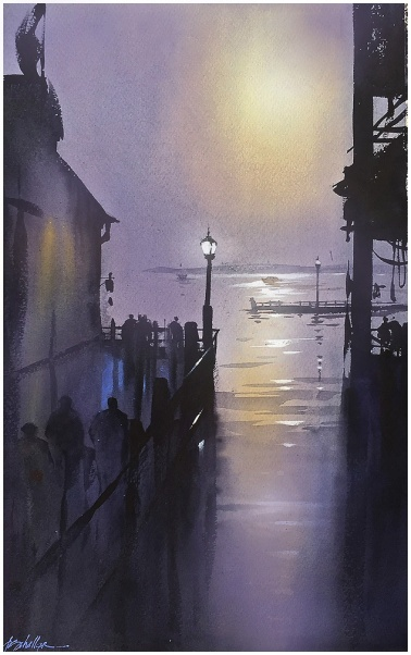Composition in Violet Thomas W Schaller - Watercolor on Saunders Waterford Paper; 140 lb. rough surface ,24x18 inches - 2015 Derived primarily from imagination, this painting was inspired by my many visits to the American Great Lakes and specifically the feeling evoked by long waits in the evening for Ferry boats to arrive. Another influence were the sparse - almost minimal - and very powerful nocturnes of Whistler. I used primarily shades of purple , but of course they find more strength when vibrating at a quiet frequency with just a bit of complementary yellow - suggesting the calm of peaceful moonlight reflecting on the still water.
