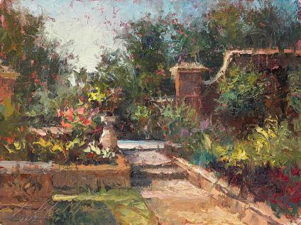 """""""Lauritzen Victorian Garden """" oil, 9"""" X 12"""""""