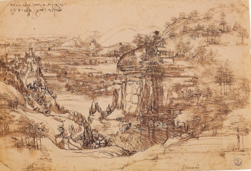 Leonardo's landscape drawing on location