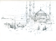 Bluemosque a quick sketch done from a rooftop bar in Istanbul. Whenever I get the chance to have a cold beer on a hot day and sketch in the shade I take it.