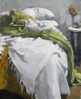 Green Blanket, 24x30, oil, ©2016Maggie Siner