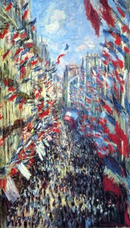 Monet, Rue Montorgueil Paris, 1878, 81x50cm, oil on canvas, Musee d'Orsay