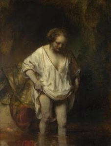 Rembrandt, Woman Bathing in a Stream, 1654, 62x47 cm, oil on oak, Nat Gal London