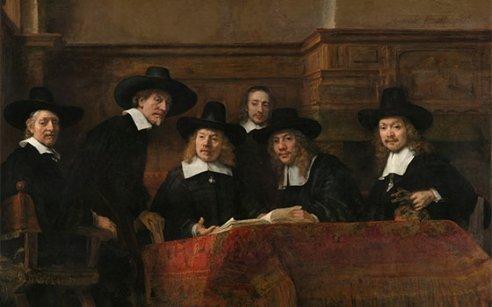 De Staalmeesters, Rembrandt, 1662, oil on canvas, 75.4 x 110, Rijksmuseum, Amsterdam