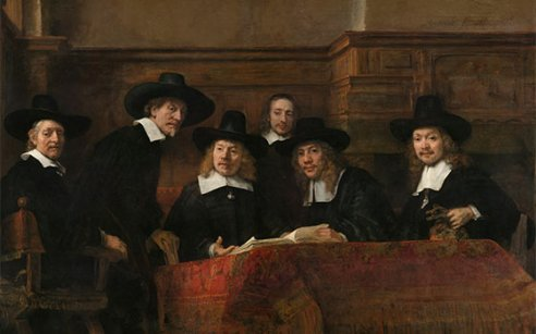 43912_fullimage_Syndics of the Drapers Guild by Rembrandt 1662 Rijksmuseum Amsterdam_492x307