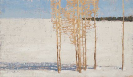 Aspen and Shadows on Bright Snow, 7x12 inches, Oil on Linen Panel, small
