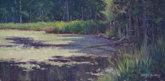 woodland-water-lilies-8x16-oil-med