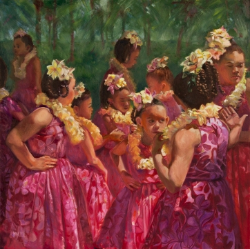 """Keiki Hula at the Palace"" 24x24, oil"